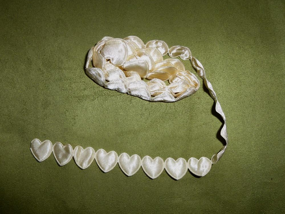 Prýmek saténové srdce béžové 17 mm - Obrázek č. 1