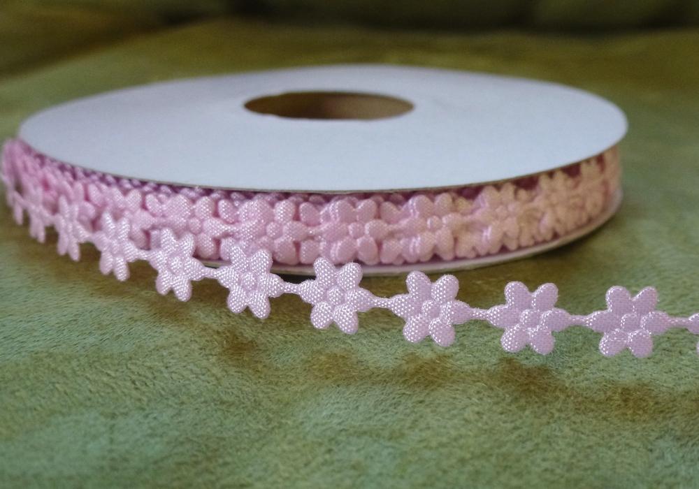 Prýmek saténový květ růžový 7 mm - Obrázek č. 1