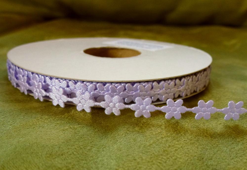 Prýmek saténový květ fialový 7 mm - Obrázek č. 1