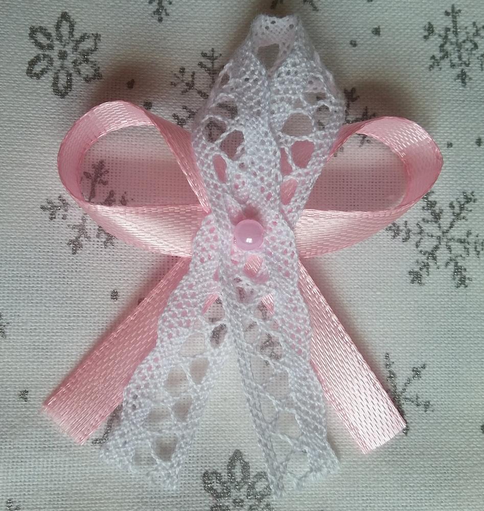 Světle růžové svatební vývazky s krajkou - Obrázek č. 1