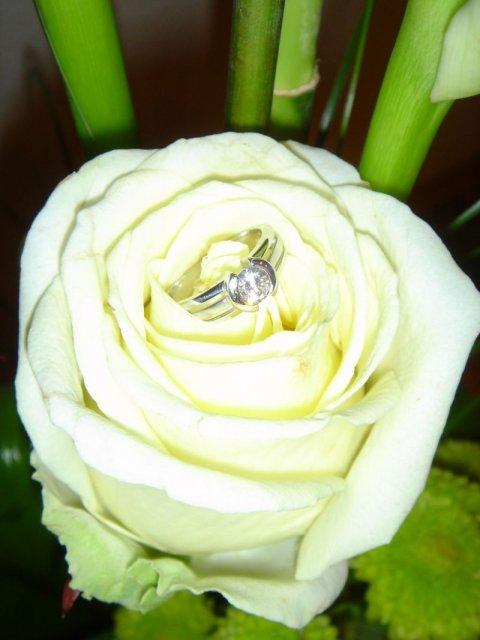 Zásnuby - zásnubný prsteň a kytica 1