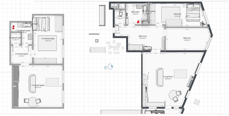 Náš byt - Porovnání budoucího bytu  (vpravo) s naším současným nájemním bytem (vlevo). Těším se na rozdělení místností i o chlup větší prostor.