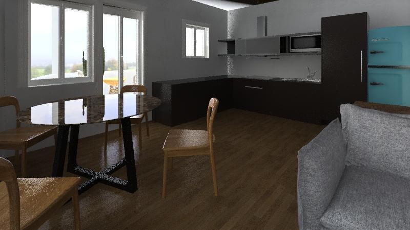 Náš byt - Jedna z prvních vizualizací,jak by to mohlo vypadat, pohled n kuchyň a balkonové okna a dveře. Amatérský render v homestyleru.