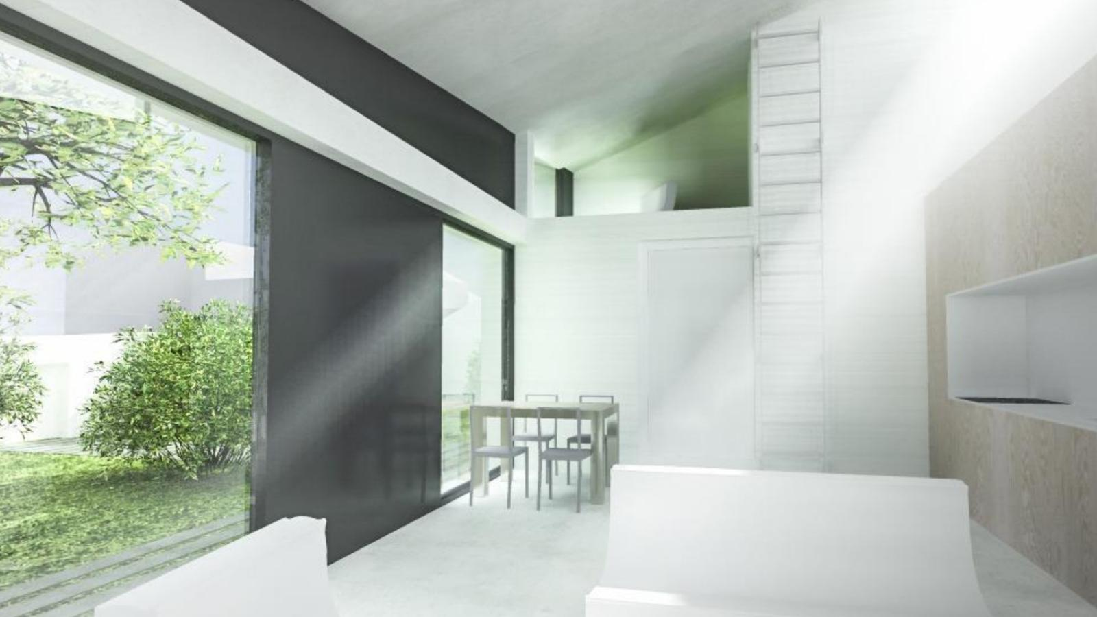 RD Satalice, individuální projekt - Pohled do obyvaku s galerii, bude slouzit jako pracovna 8.4m a 2 m budou za dveřmi jako úložné prostory. Kuchyň se  bud ještě predelavat, pridame kuchyňský ostruvek s varnou casti