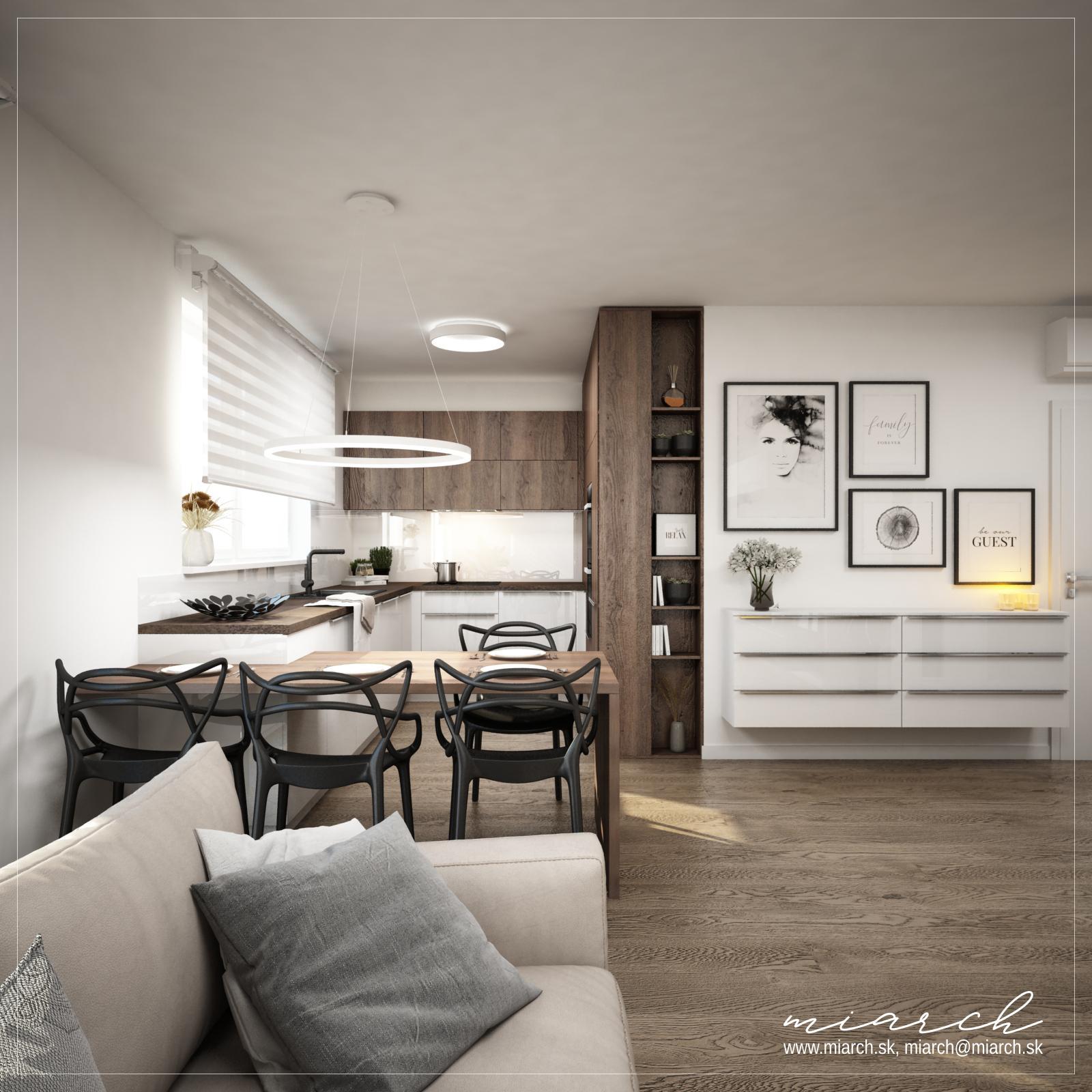 Návrh dennej časti bytu - Hamuliakovo, Dunajská riviéra - Obrázok č. 3