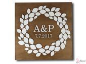 Luxusní dřevěný abstraktní obraz s Vašimi iniciála,
