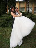 romantické svadobné šaty s vlečkou, 34