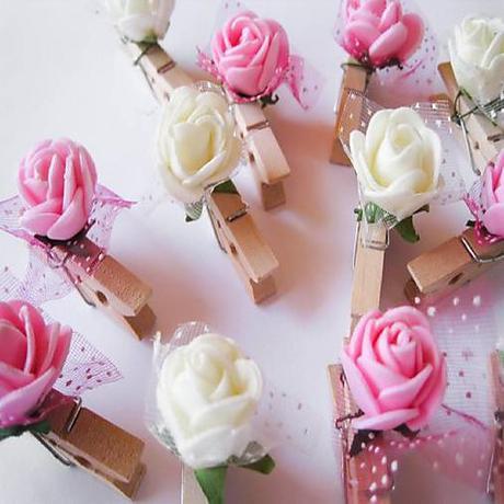 štipčeky ružové a biele  - Obrázok č. 1