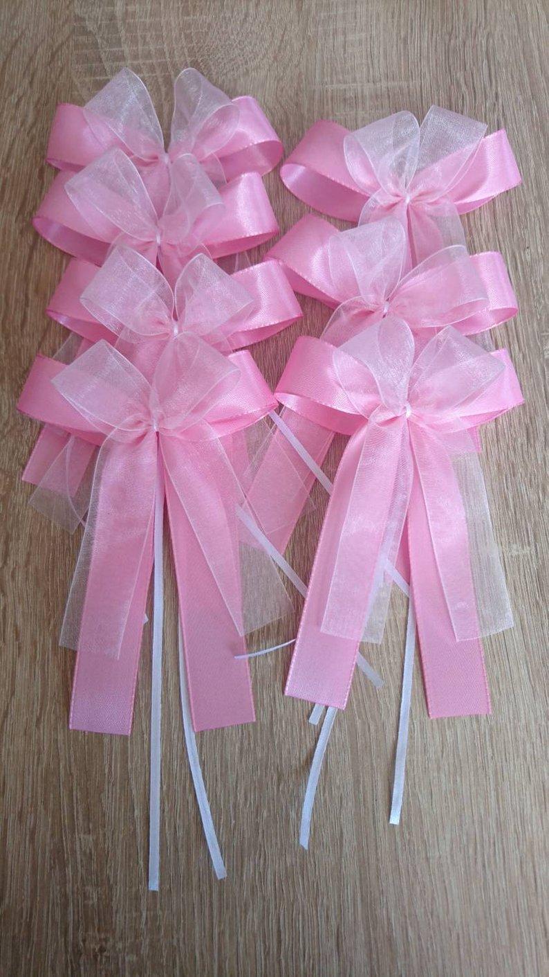 sada ružových mašlí na dekorácia auta - Obrázok č. 1