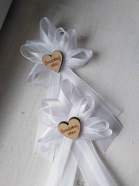 4 svadobné pierka biele s nápisom svadobný otec, svadobná mamička - Obrázok č. 1