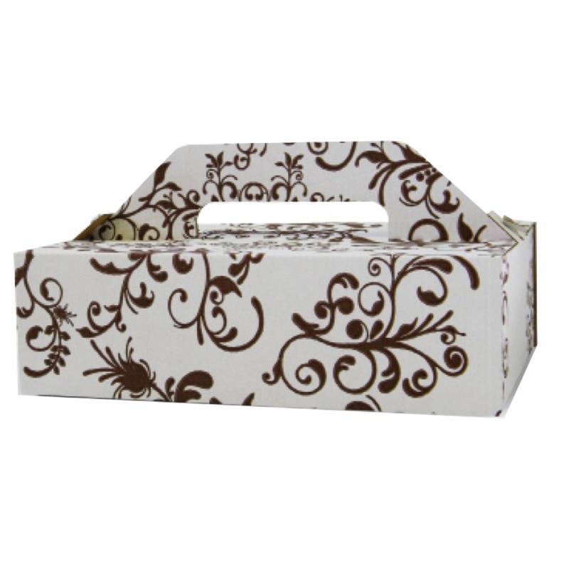 Krabica na zákusky s ručkou vzorovaná-K 27x18x8cm  - Obrázok č. 1