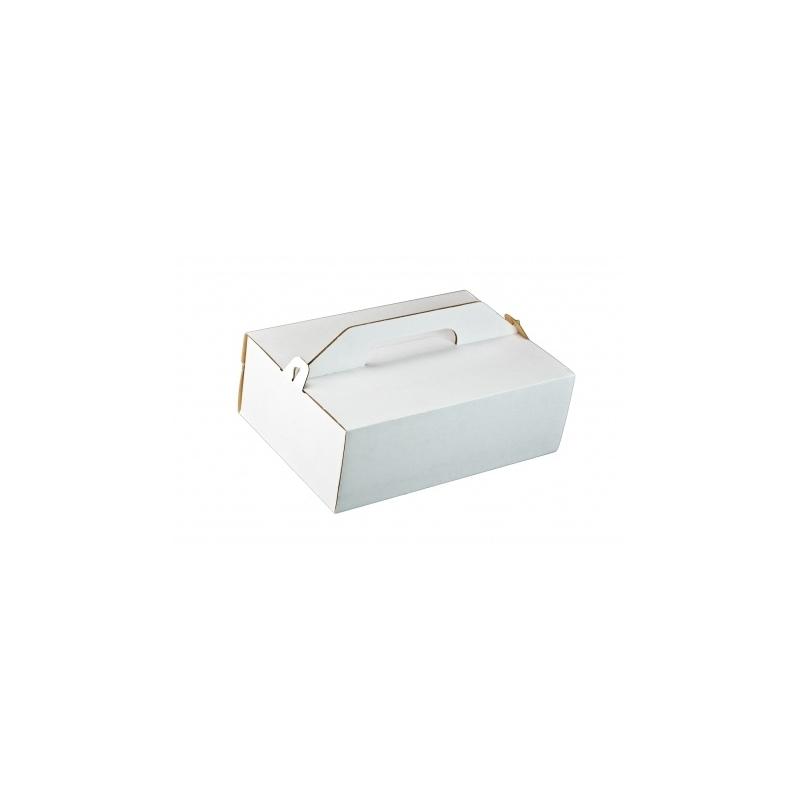 Krabica na zákusky s ručkou biela-K 27x18x8cm  - Obrázok č. 1