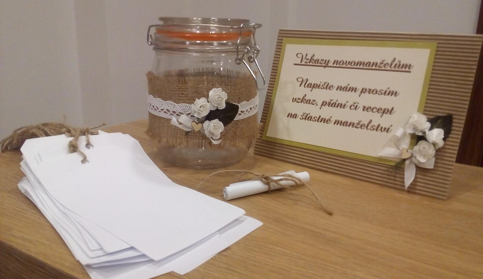 Zdobená sklenice na vzkazy novomanželům - Obrázek č. 1