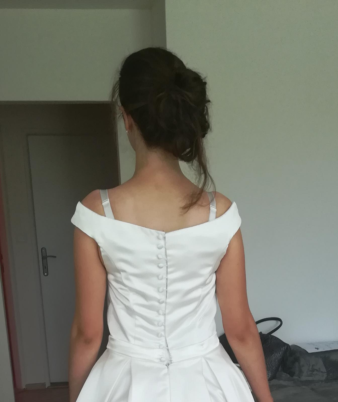 saténové svadobné šaty,36-38 - Obrázok č. 4