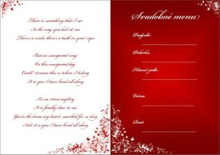 menu na stoly - na ľavej strane je text piesne, ktorá sa bude hrať ako prvý tanec novomanželov