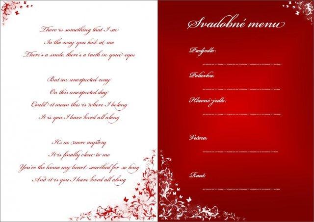Co uz mame - menu na stoly - na ľavej strane je text piesne, ktorá sa bude hrať ako prvý tanec novomanželov