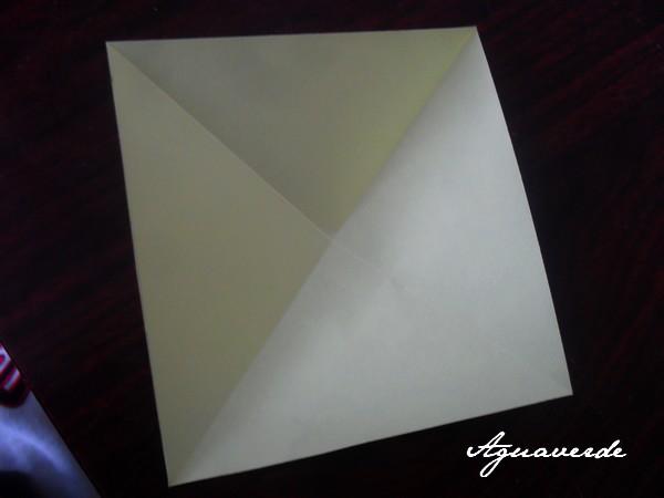 """Hand made by Agu - vystřihneme čtverec (já mám 10x10) přeložíme tak aby nám vznikly """"čáry"""" z rohu do rohu a ty čáry do půlky nastřihneme (ne až k prostředku!!! )"""