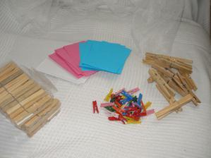 Kramlíčky na fotky a na přání na větev + papírky