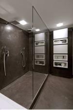 Dolní sprcha asi nějak takto, samozřejme o dost menší