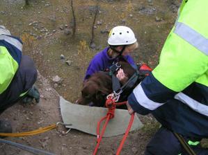s Rockym dělám záchranařinu - tohle je trénink slanění se psem....začátek...chudák Rocky nestíhal valit očička, nad jakou hloubkou visí :-)