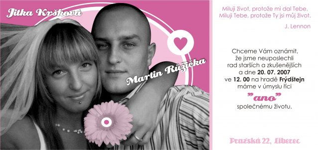 ♥ Jitka Kršková{{_AND_}}Martin Růžička ♥ - Svatební oznámení :-)