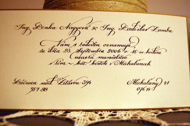 Naša svadba 20.9.2008 - s takýmto písmom :)
