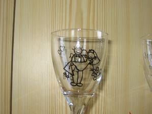 Naše památeční skleničky a taky pozornost a poděkování pro rodiče - vlastní tvorba :o)))