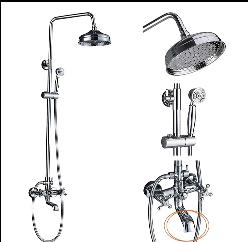 Nová chrómová sprchová batéria s dažďovou sprchou - Obrázok č. 1