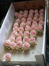 Pohárky s růžovým krémem. Vzhledem k tomu, že svatba byla růžová, snažili jsme se i cukroví ladit dorůžova