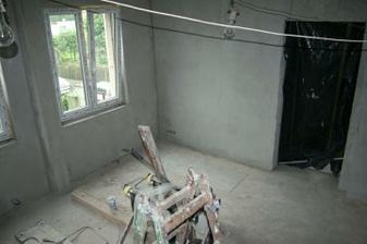 Pohled na zeď, kde bude TV.
