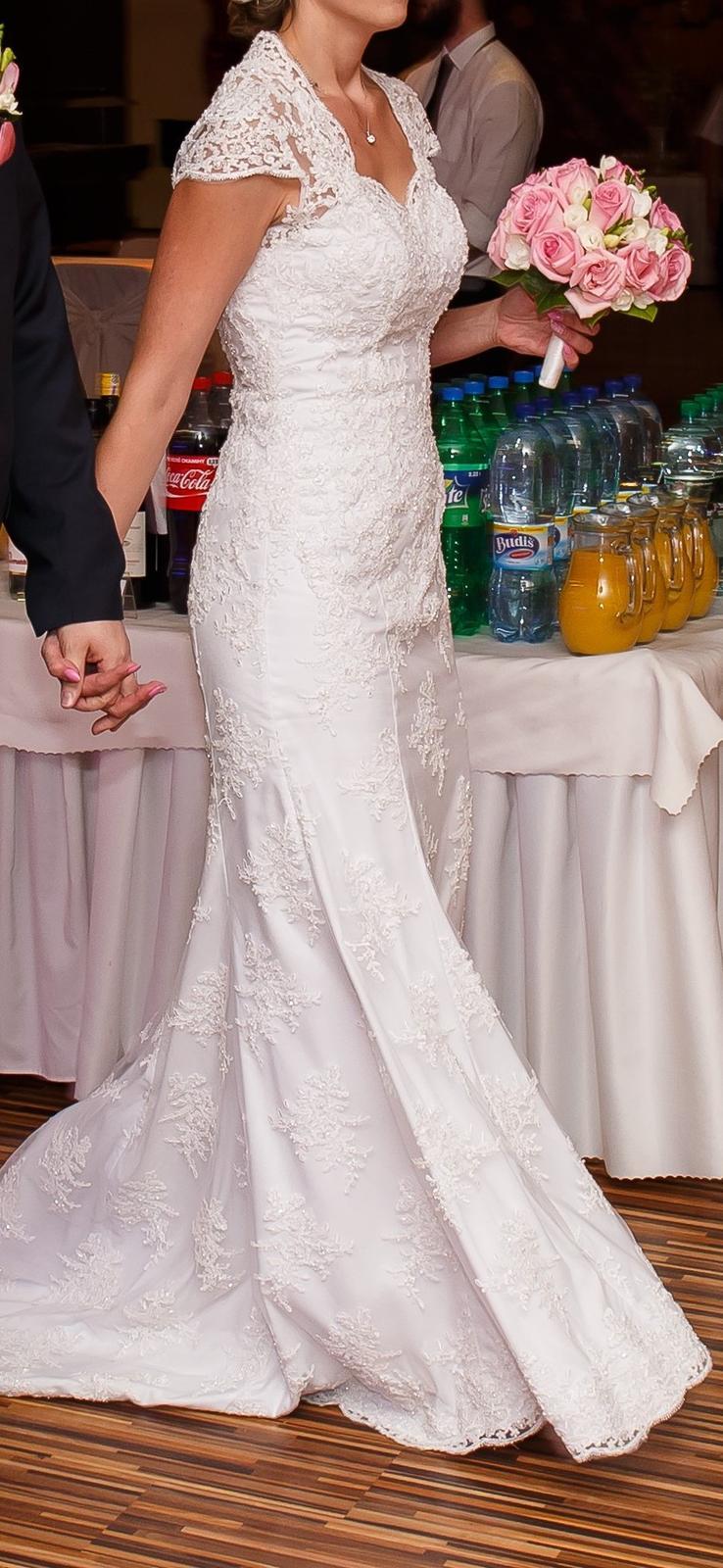 Svadobné šaty čipkované veľkosť 40-42 - Obrázok č. 4