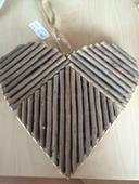Vintage dřevěné srdce - 3 kus,