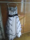Bílé svatební šaty s černou krajkou - nepoužité , 40