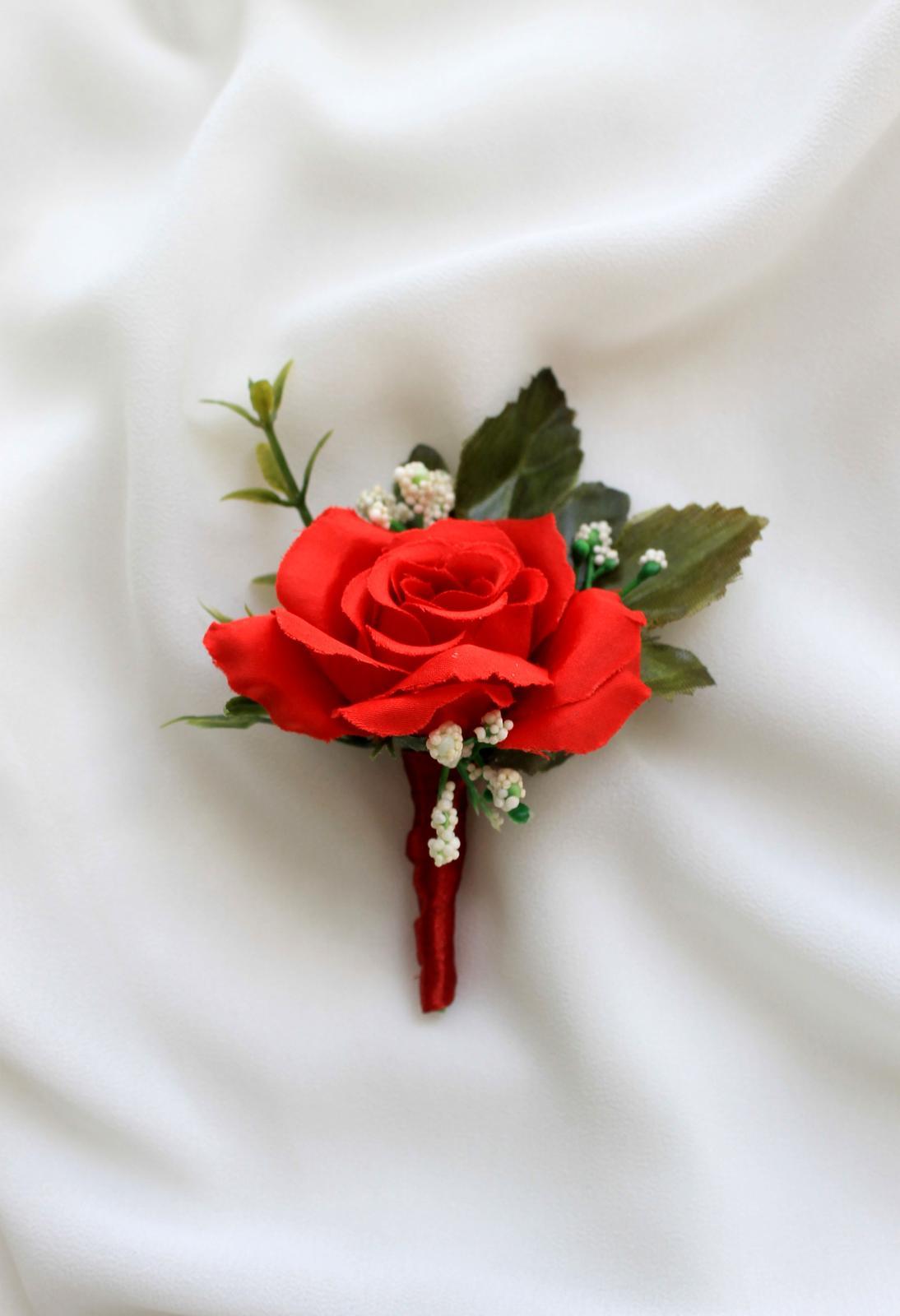 Pierko pre ženícha / svedka - červená ruža - Obrázok č. 1
