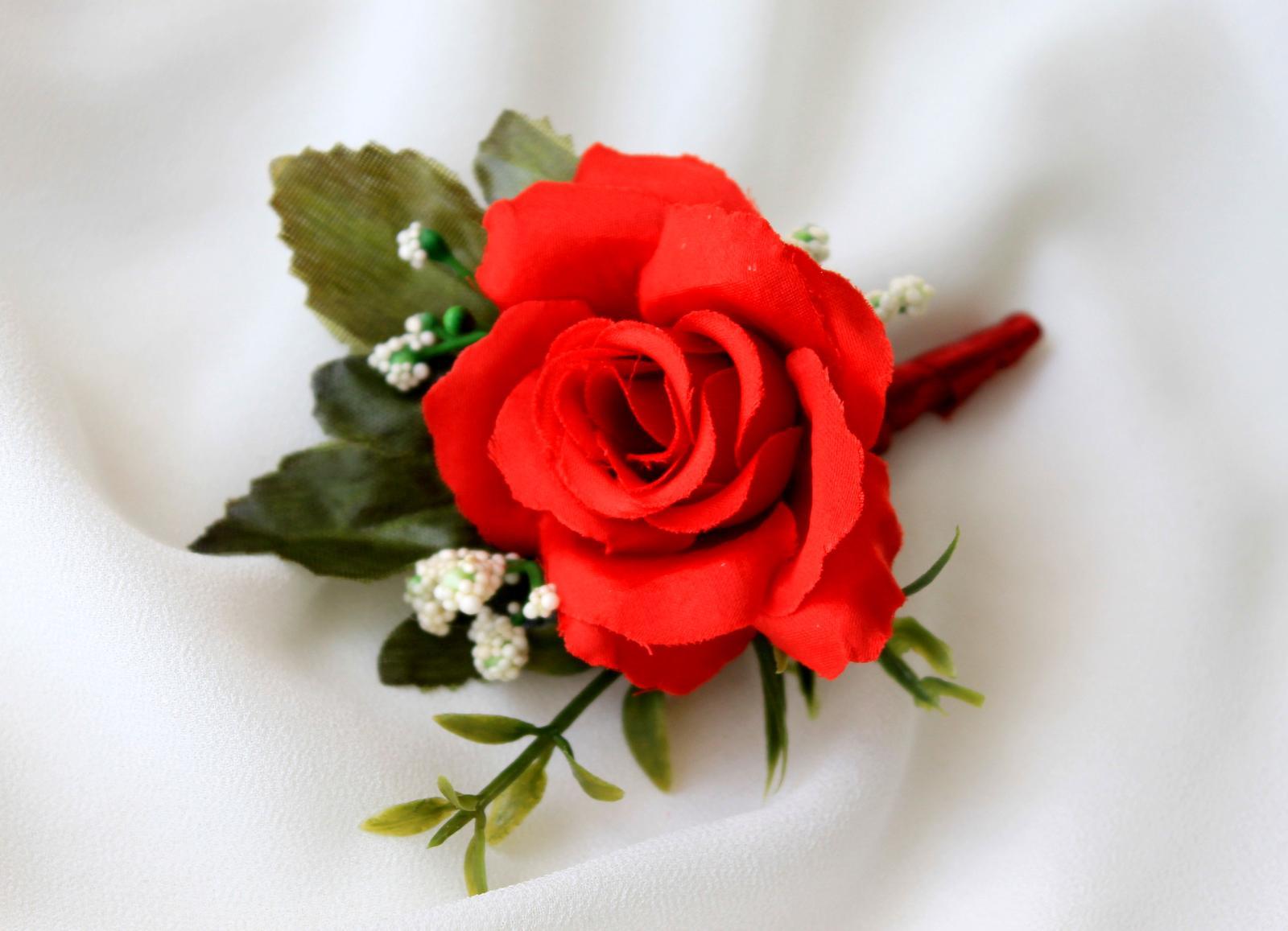 Pierko pre ženícha / svedka - červená ruža - Obrázok č. 2