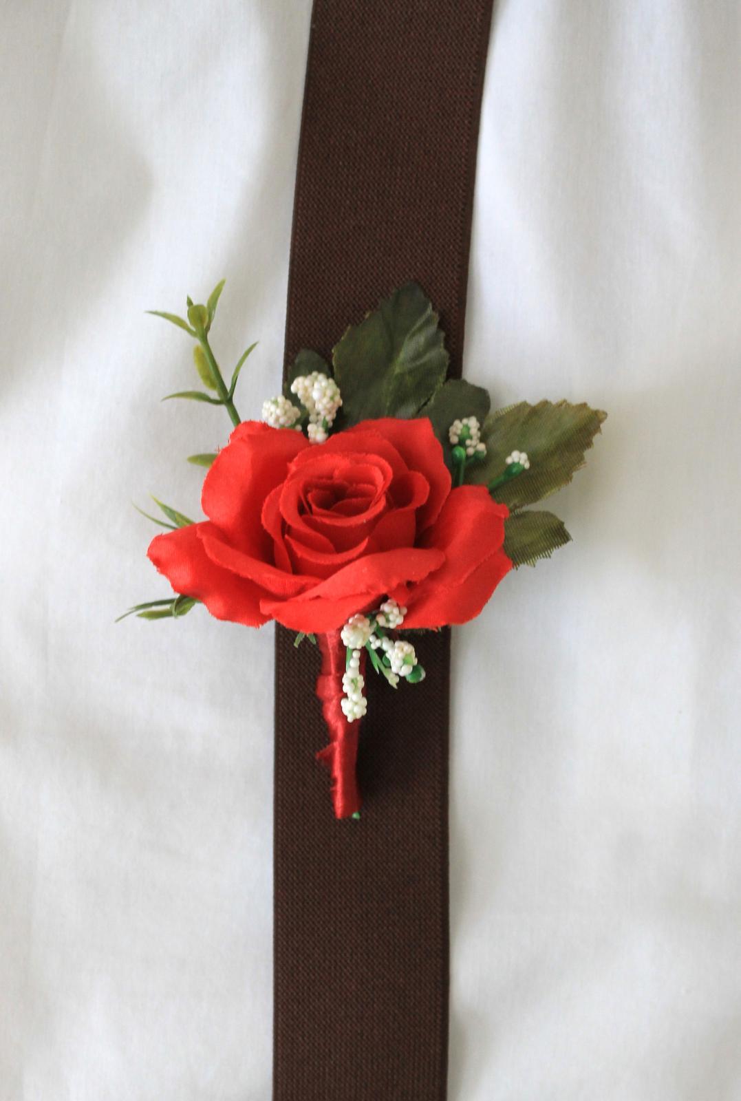 Pierko pre ženícha / svedka - červená ruža - Obrázok č. 3
