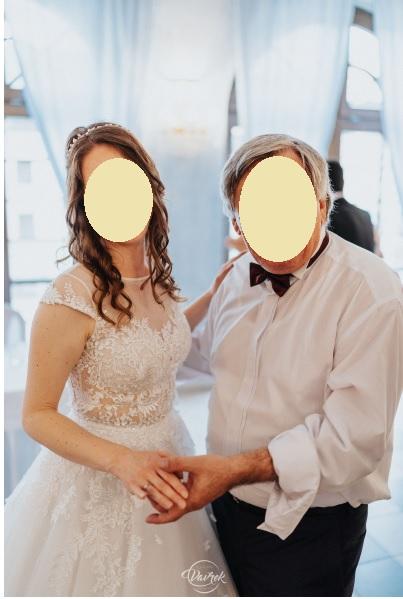 Čipkované svadobné šaty s áčkovou sukňou veľ.36-38 - Obrázok č. 2