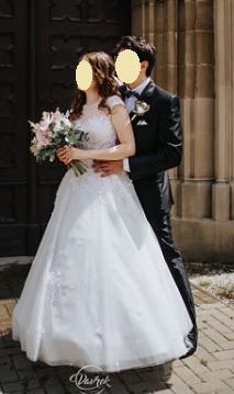 Čipkované svadobné šaty s áčkovou sukňou veľ.36-38 - Obrázok č. 4