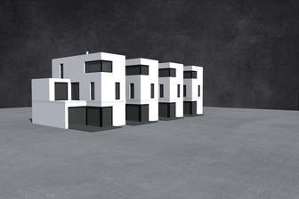 zastavena plocha jednoho domecku 84 m2, velikost 5+1, celkova sirka necelych 7,5 m
