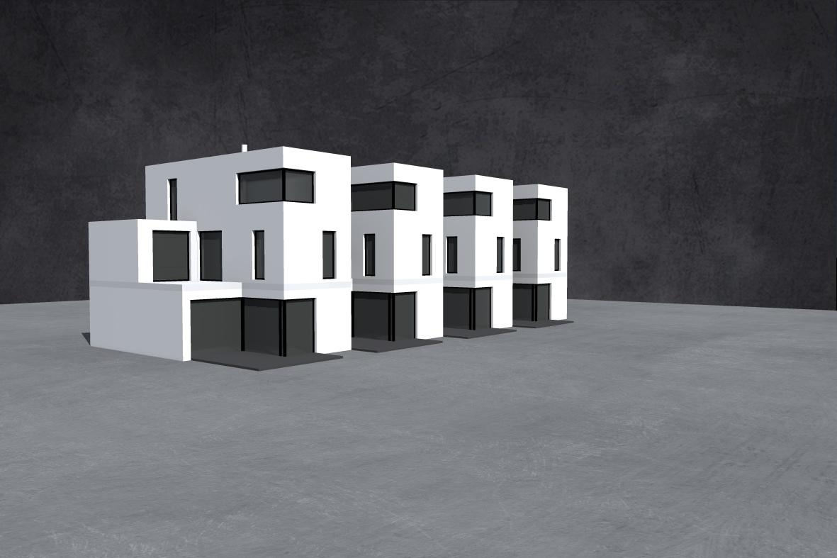 Domečky - zastavena plocha jednoho domecku 84 m2, velikost 5+1, celkova sirka necelych 7,5 m