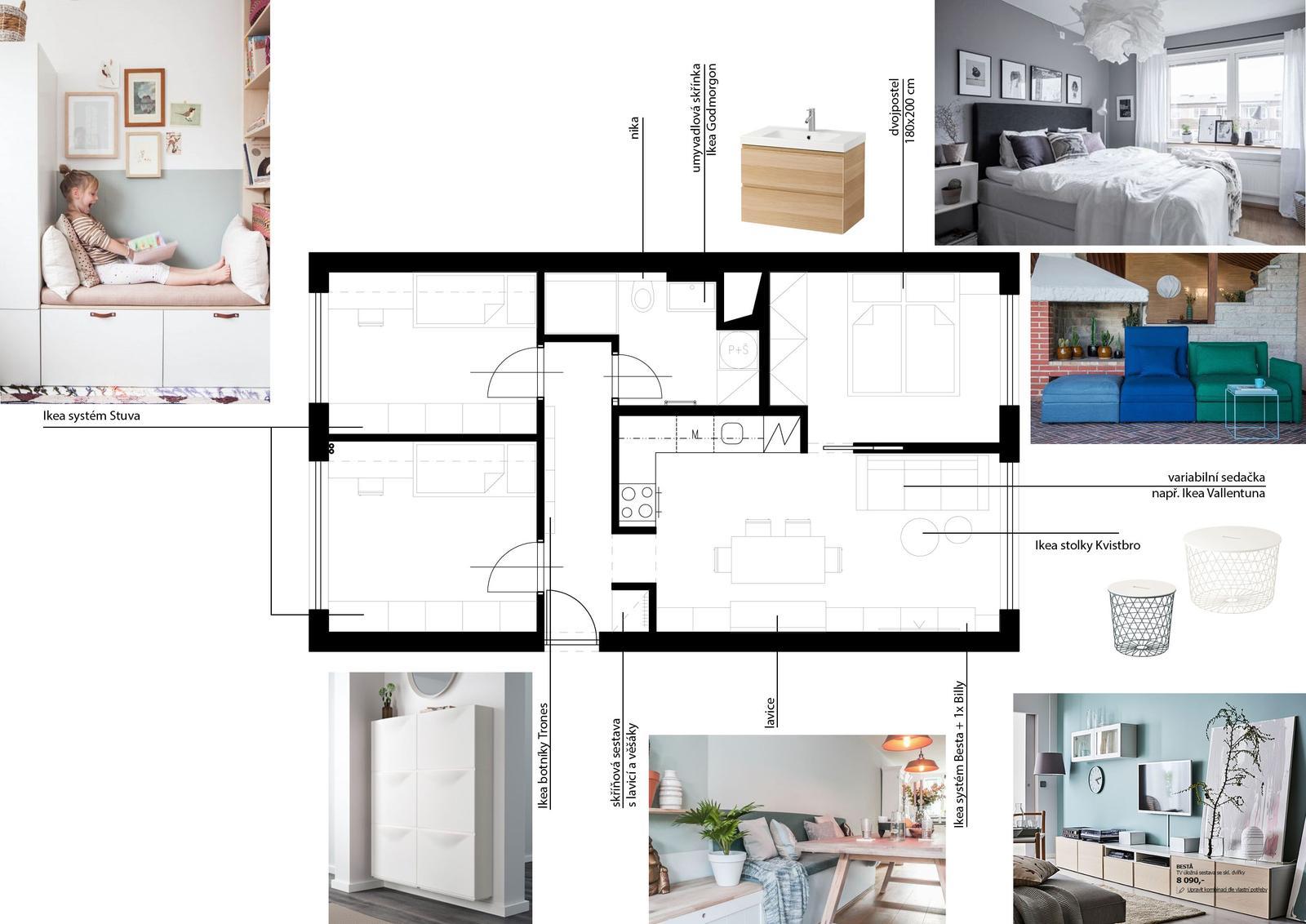 Obýváky - 4+kk na 60 m2