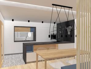 kuchyne je az na konci 9m dlouheho pokoje, je proto prisvetlena prosklenim s mlecnym sklem, ktere vede do dalsiho z pokoju...dvere do nej jsou ukryty v kuchynskem bloku