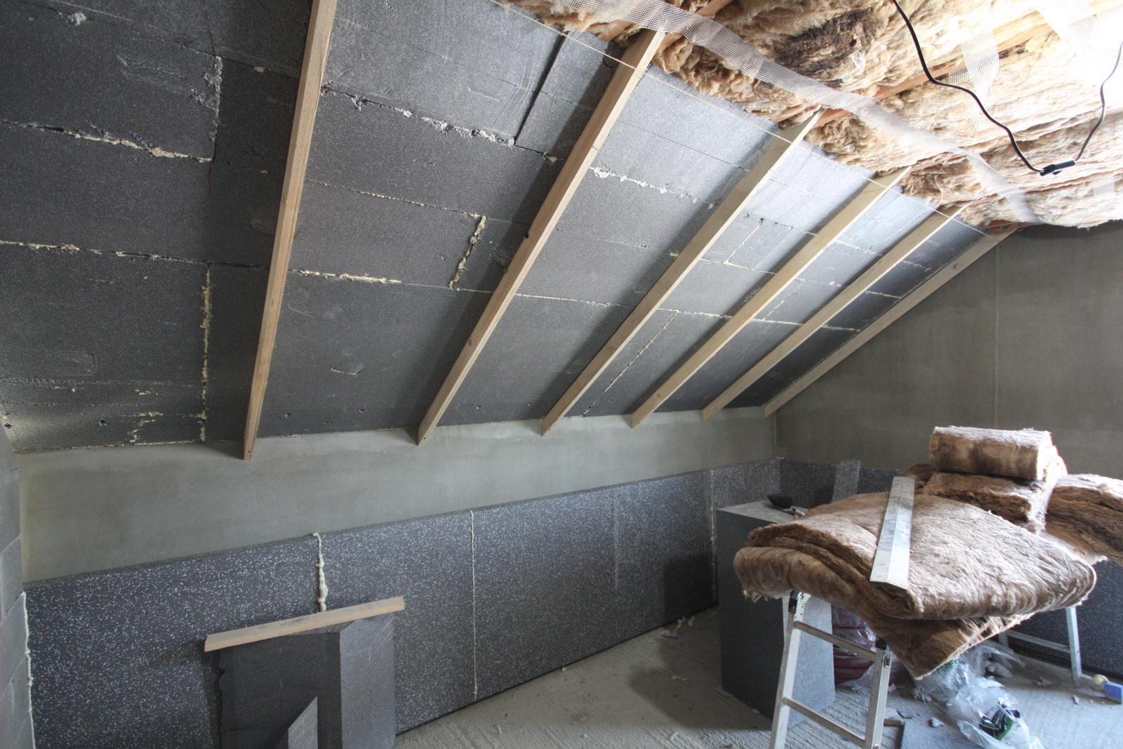 Nulový dom bez komína... Som UFO? - konstrukcia plafon... horne izby.. ELEGANTNE - bez jedineho tepelneho mosta.