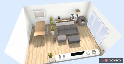 cca predstava o rozložení nábytku, jedálenský stôl by mal byť dubový s bielými stoličkami, gauč je zelený, do pravého rohu sivé kreslo z Ikea, ostatný nábytok bude BESTA IKEA