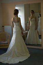 vybrané šaty už na mně:-) fotka ne moc dobré kvality, ale silueta vidět je...