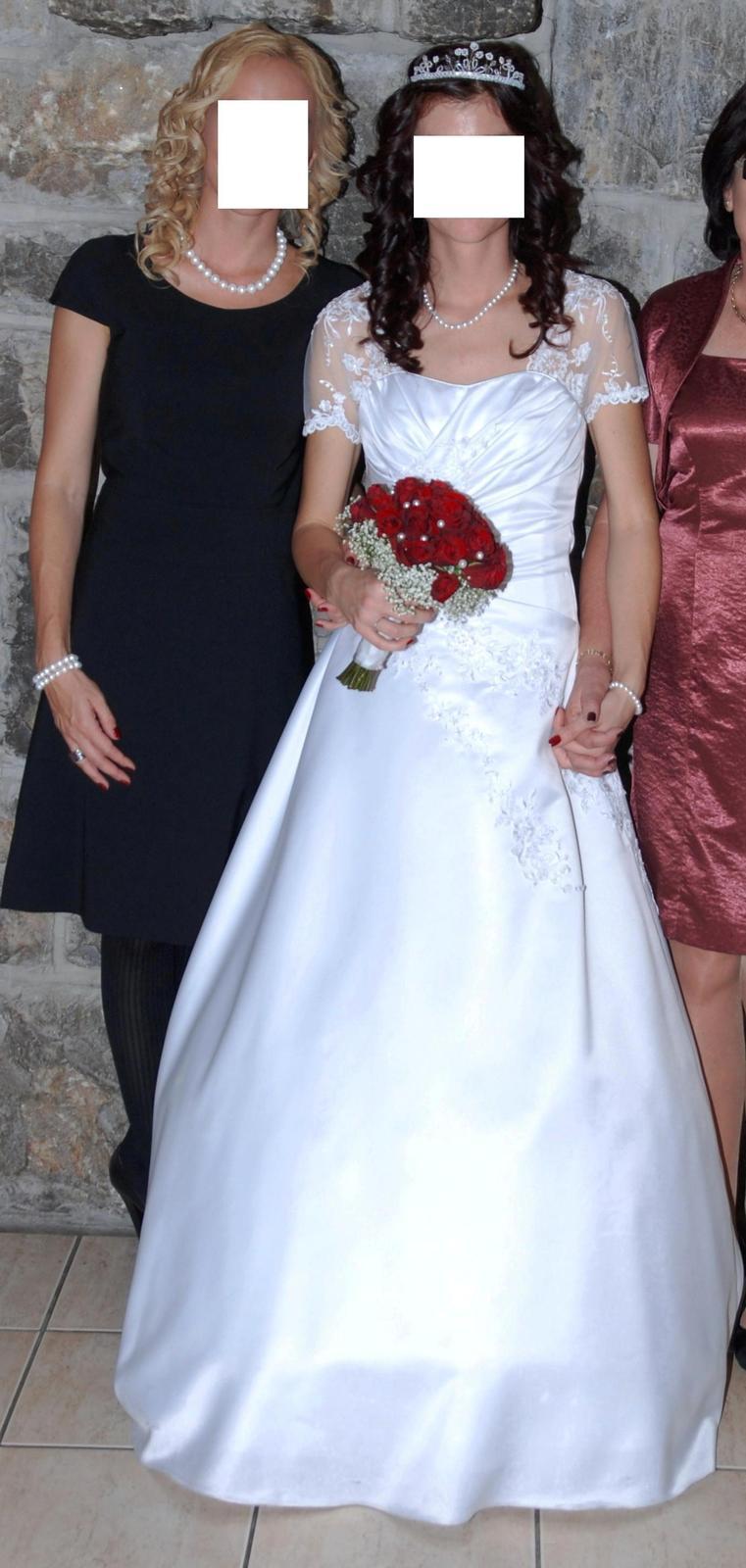 Svadobné šaty s Krajkovými rukávmi - veľ.34/36 - Obrázok č. 1