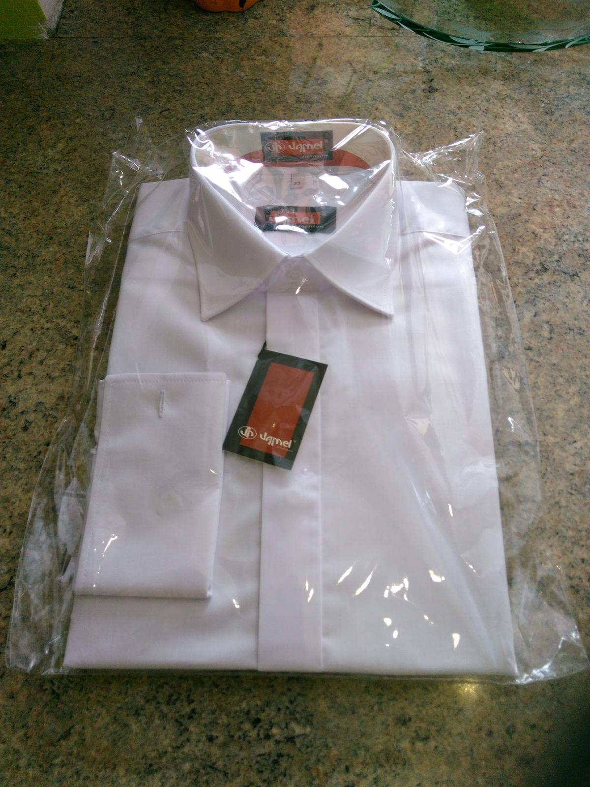 Svadobná košeľa biela s manžetami veľ. 39/40 - Obrázok č. 1
