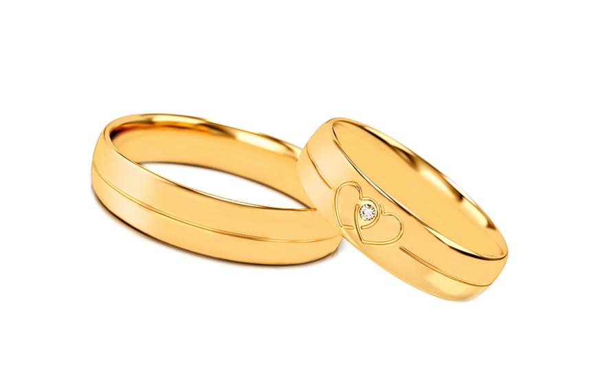 Romantické svadobné obrúčky so srdiečkami a zirkónom - STOB330