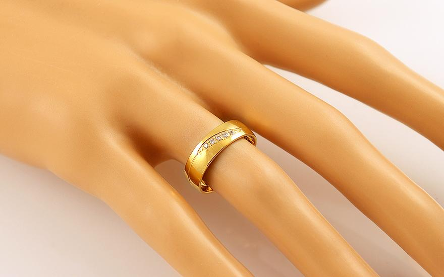 Zlaté svadobné obrúčky so zirkónmi - SKOB023