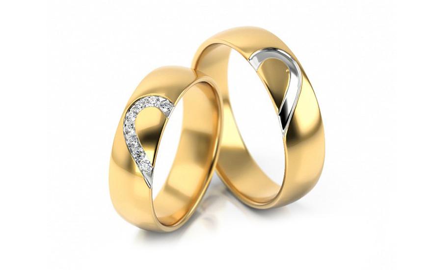 Zlaté svadobné obrúčky so srdcom a zirkónmi - Stob315V